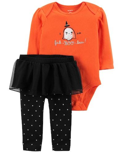 2-Piece Halloween Bodysuit & Tutu Pant Set