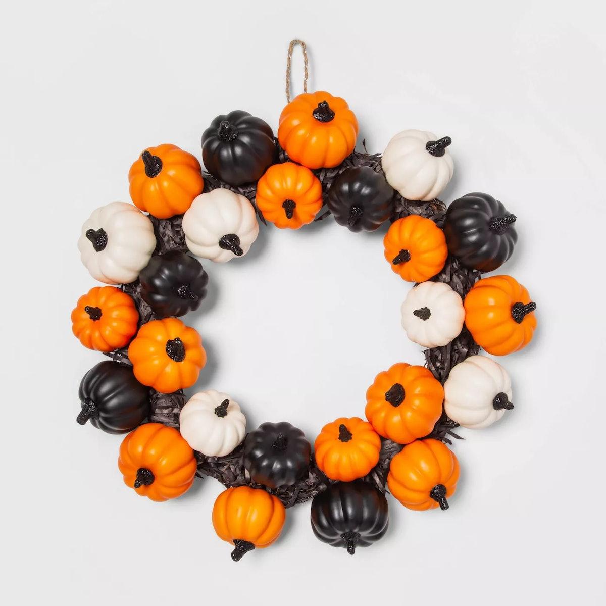 Pumpkins and Black Grass Halloween Wreath - Hyde & EEK! Boutique