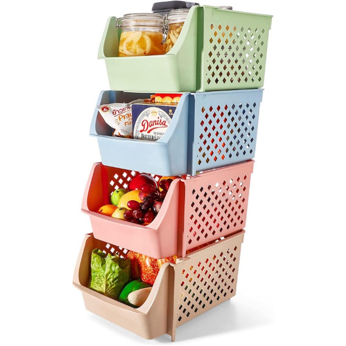 Titan Mall Stackable Storage Bins (4 Pieces)