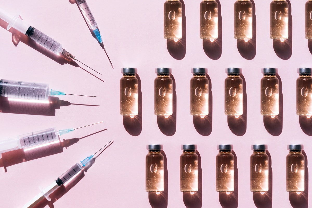 glass vials and needles
