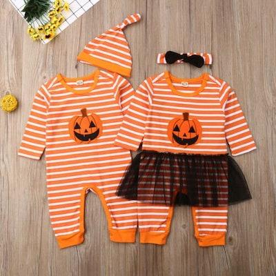 Boy & Girl Matching Pumpkin Outfits