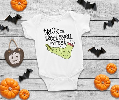 Trick Or Treat Smell My Feet Funny Halloween Onesie