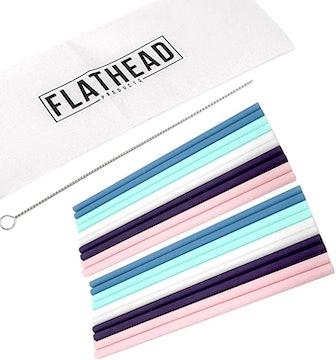 Flathead Reusable Silicone Drinking Straws
