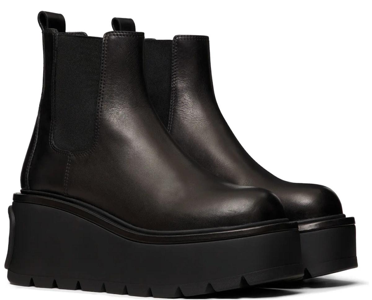 Valentino's black VLOGO Platform Boots.