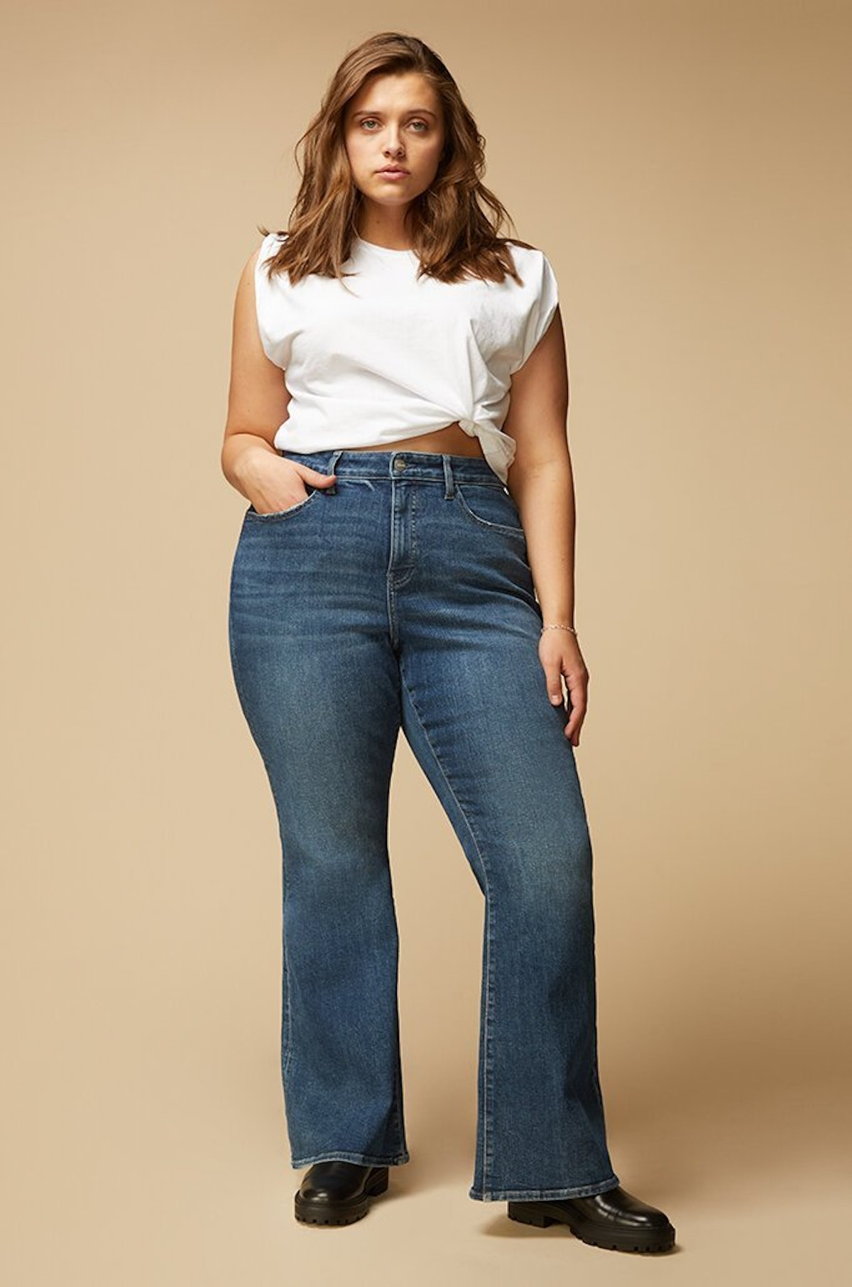 High Rise Flare 29'' Jeans in Feel Good from Warp + Weft.