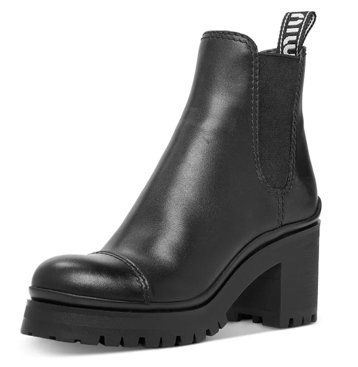 Miu Miu Women's Leather Platform Booties in black.