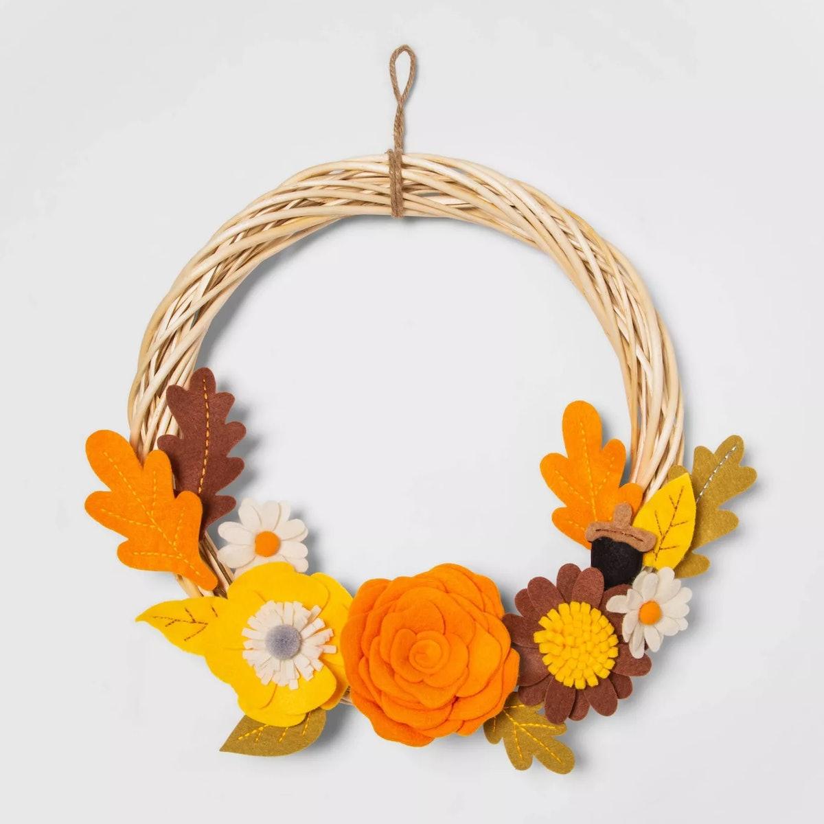 Harvest Indoor Fabric Wreath Hoop with Felt Flowers - Hyde & EEK! Boutique