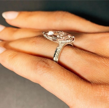 MAREI Jewelry's Marei Marquise Diamond Engagement Ring with a hidden halo.