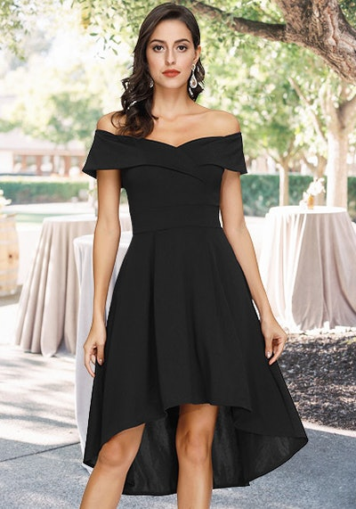 JASAMBAC Off Shoulder Cocktail Dress