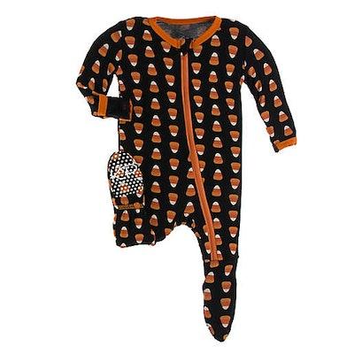 Candy Corn Footie Pajama in Black/Orange
