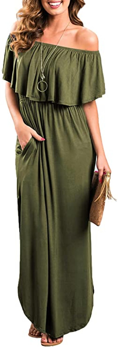 THANTH Off-The-Shoulder Ruffle Maxi Dress