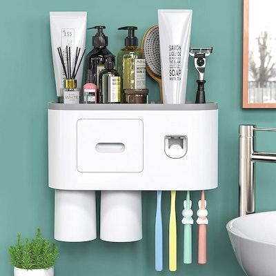 Showgoca Toothbrush Holder & Automatic Toothpaste Dispenser