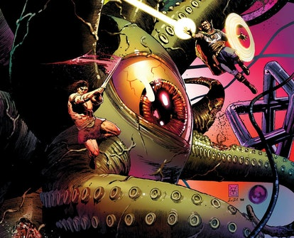 The entity Shuma-Gorath appears on the cover of Marvel Comics' 'Savage Avengers' #23.