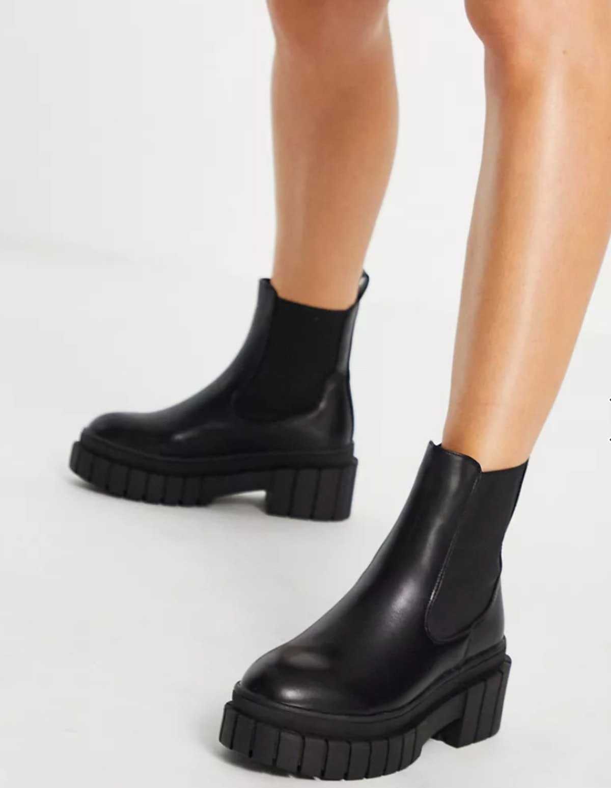 Public Desire's Wide Fit Zenya Chelsea Boots in black.