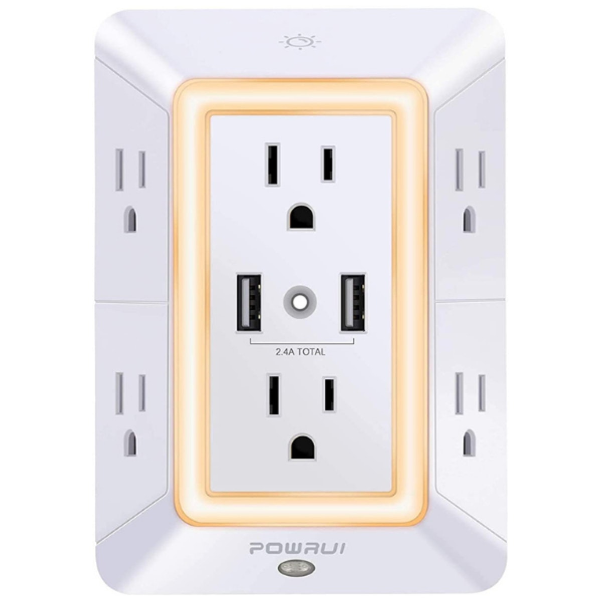POWRUI 6-Outlet Extender with 2 USB Charging Ports