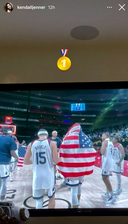 Kendall Jenner shared a photo of her TV screen after boyfriend Devin Booker and the U.S. men's baske...