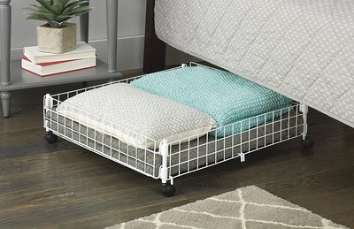 Whitmor Rolling White Wire Underbed Cart