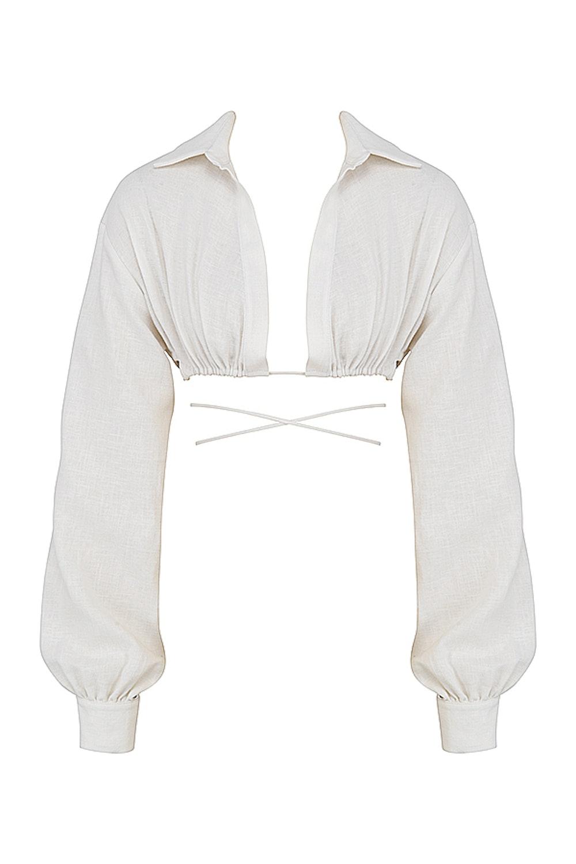 Iris Off White Wrap Around Crop Shirt