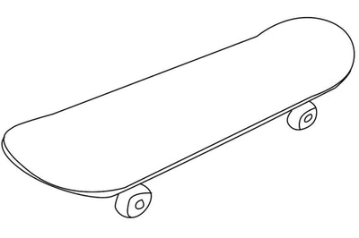 Skateboard Coloring Page; Skateboard with no design on it, allowing for creativity