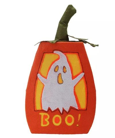 "Northlight 16.75"" Prelit LED ""BOO!"" Felt Ghost Pumpkin"