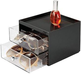 mDesign Stackable Plastic Eye Glass Storage Organizer