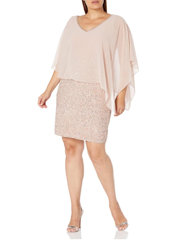 J Kara Plus-Size Beaded Capelet Dress