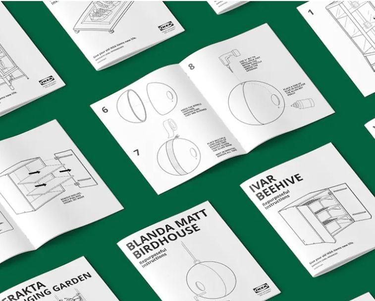"Ikea's ""Repurseful Instructions"" upcycling instruction books."