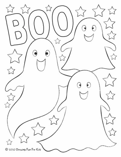 """Ghost Coloring Page: Three ghosts with stars around them, """"Boo"""" written at the top"""