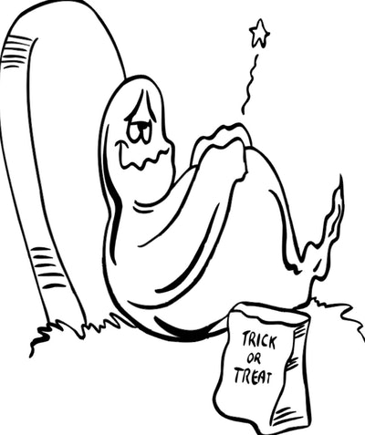 Ghost Coloring Page: Ghost leaned on headstone, with trick or treat bag, looking full from eating to...