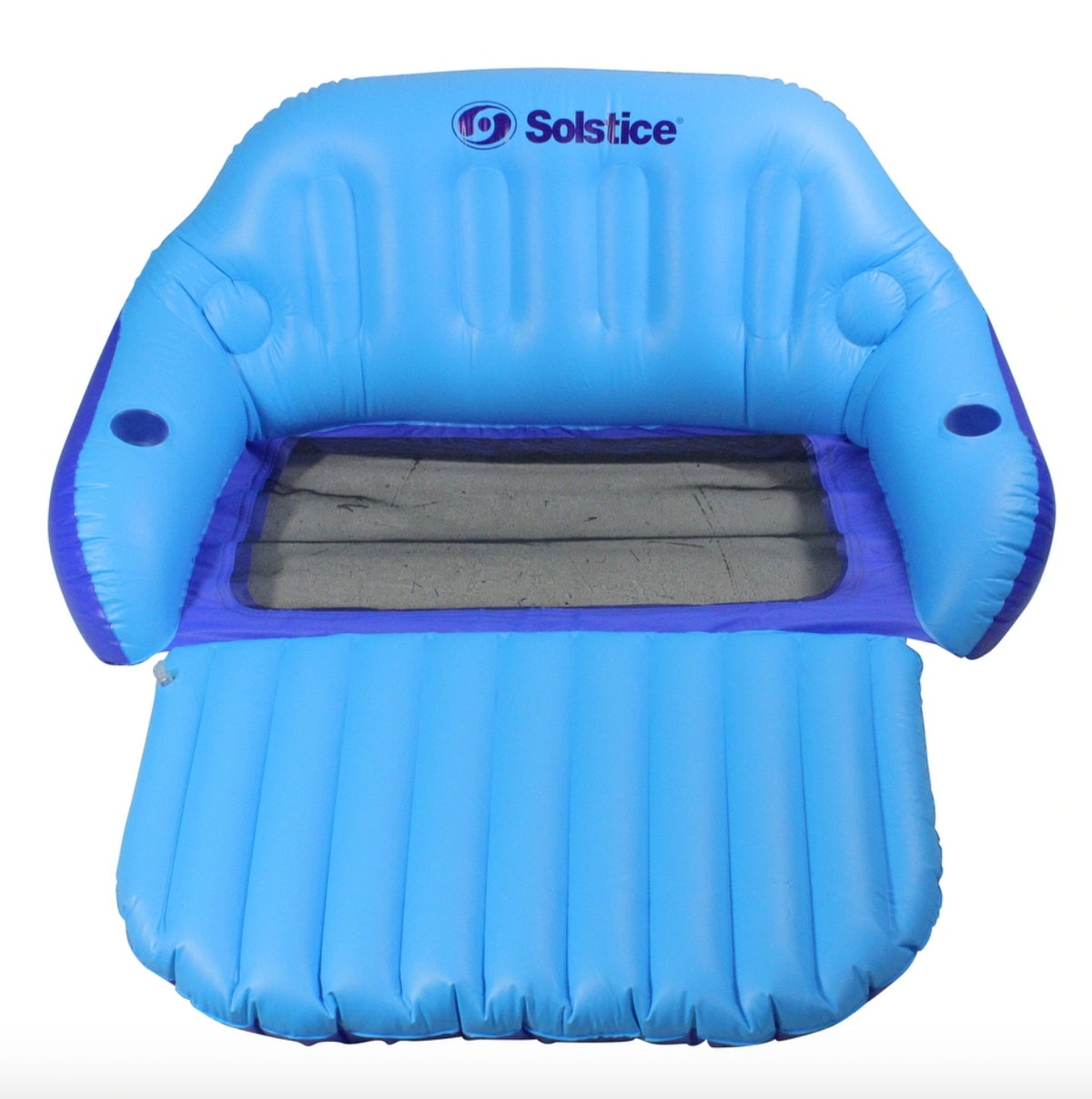 72-Inch Inflatable Blue Love Seat Swimming Pool Float with Convertible Foot Rest