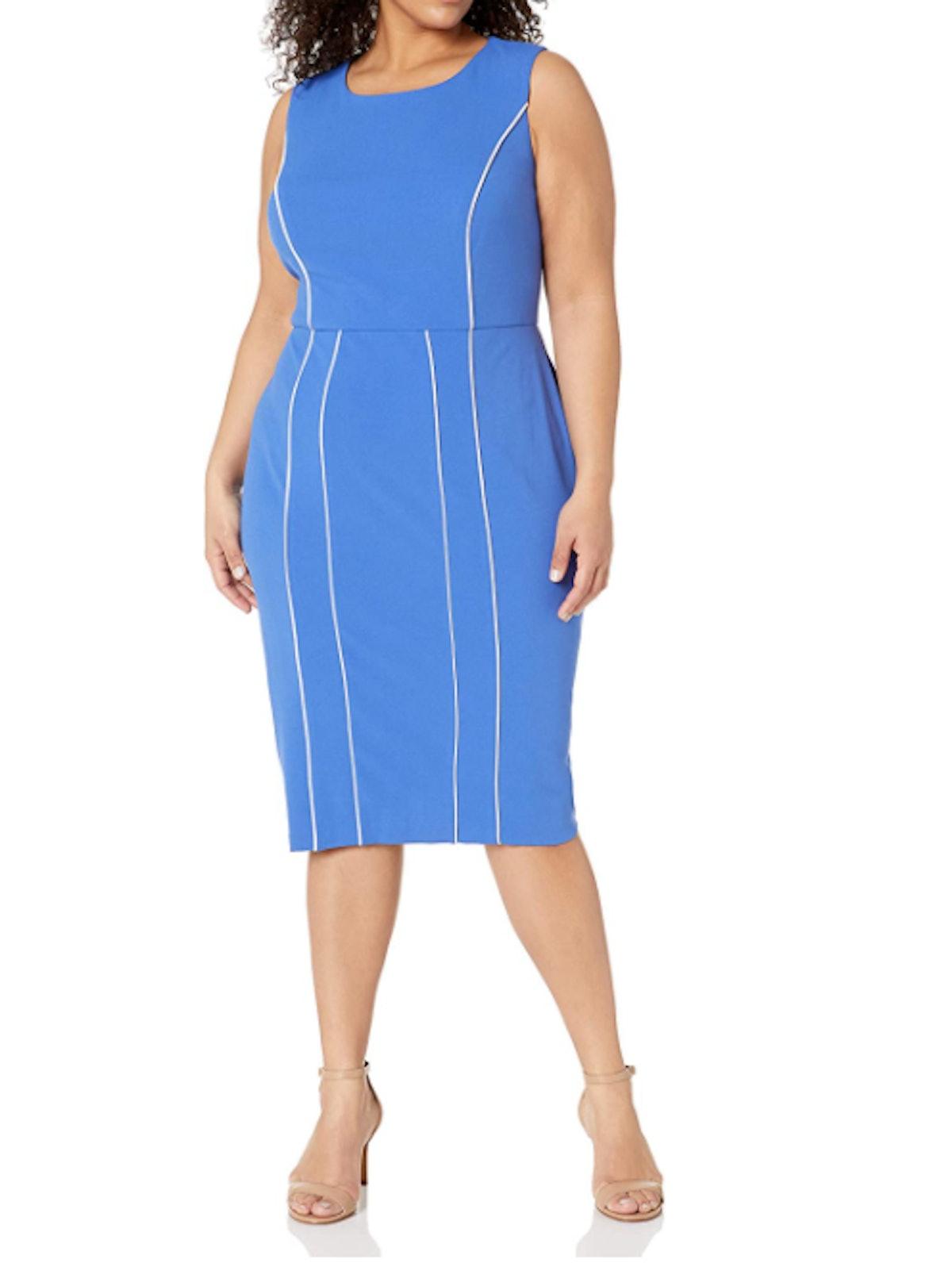Donna Morgan Plus-Size Sleeveless Contrast Piping Sheath Dress