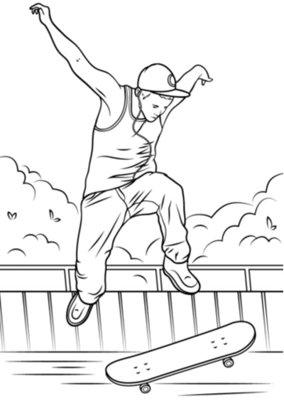 Skateboard Coloring Page: Person jumping off skateboard, doing a trick