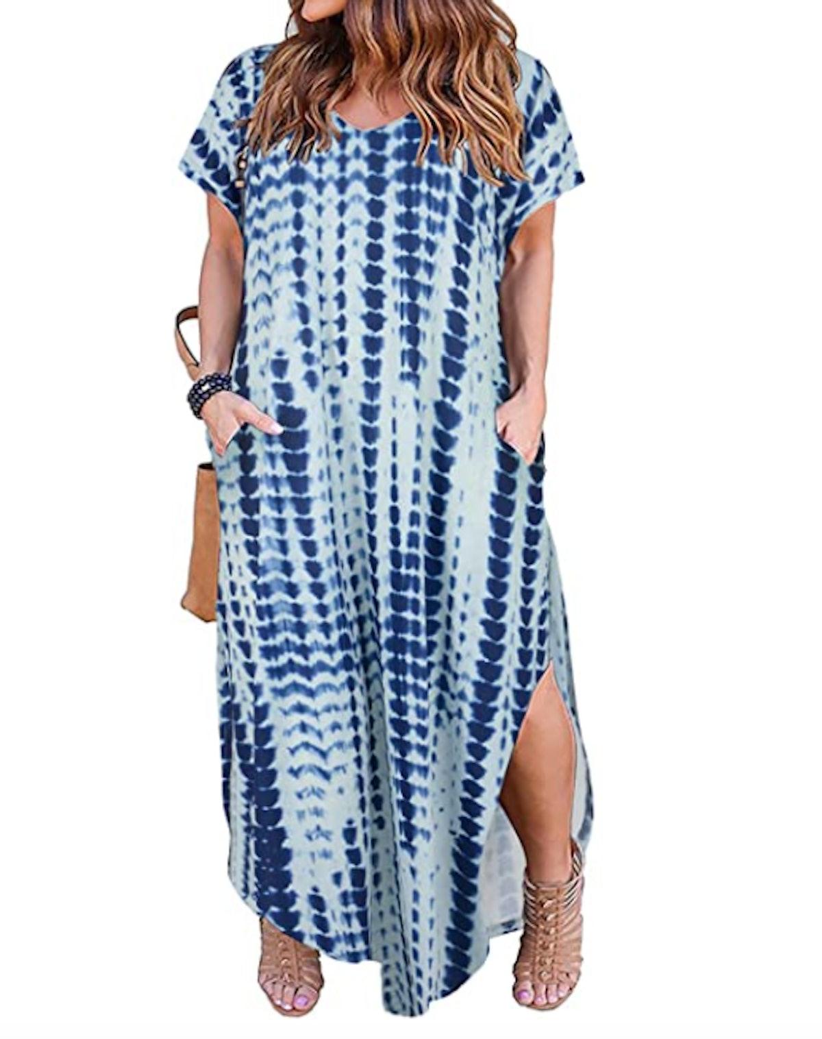 Nemidor Plus-Size V-Neck Maxi Dress