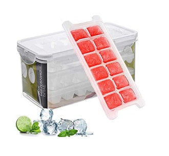 Marbrasse Ice Cube Trays and Ice Cube Storage Container (3-Pack)