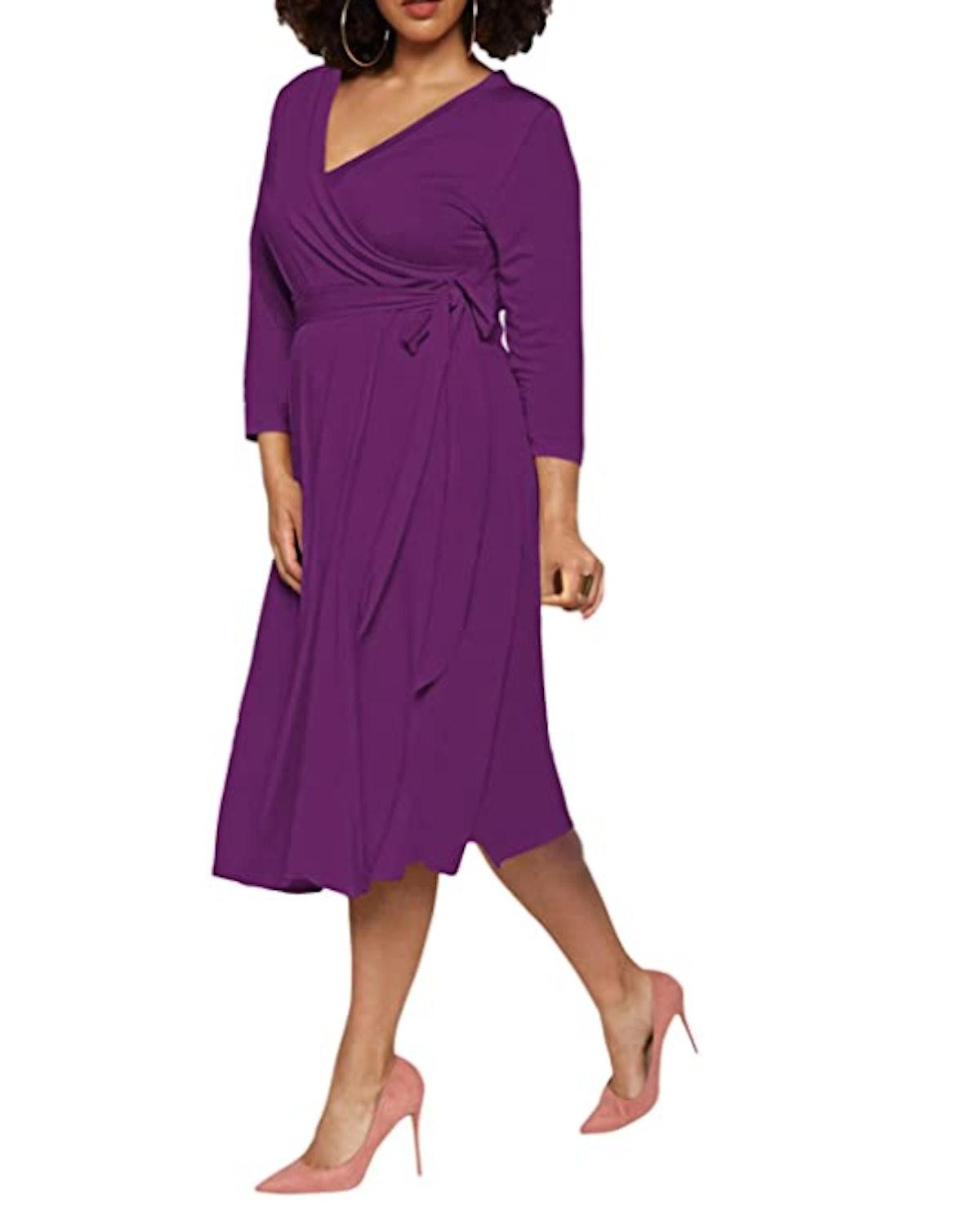Pink Queen Plus-Size Faux Wrap Dress