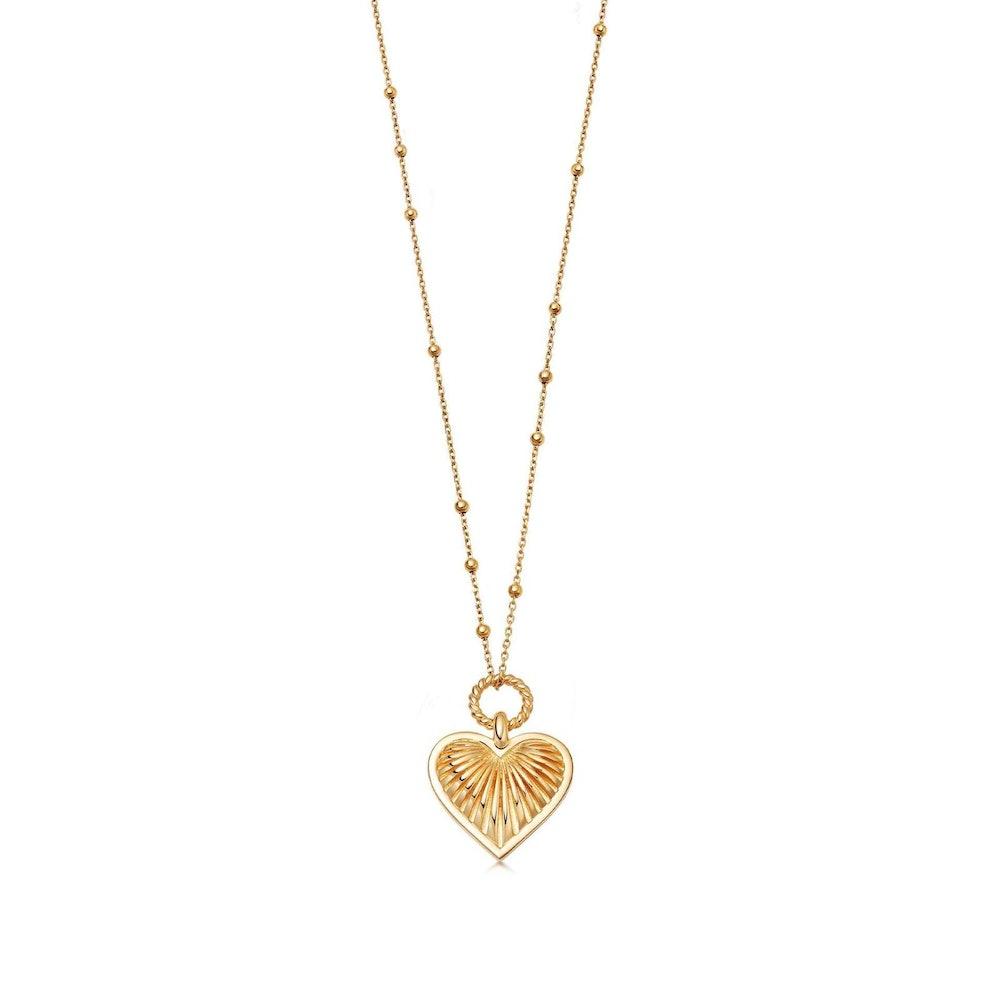 Ridge Heart Charm Necklace