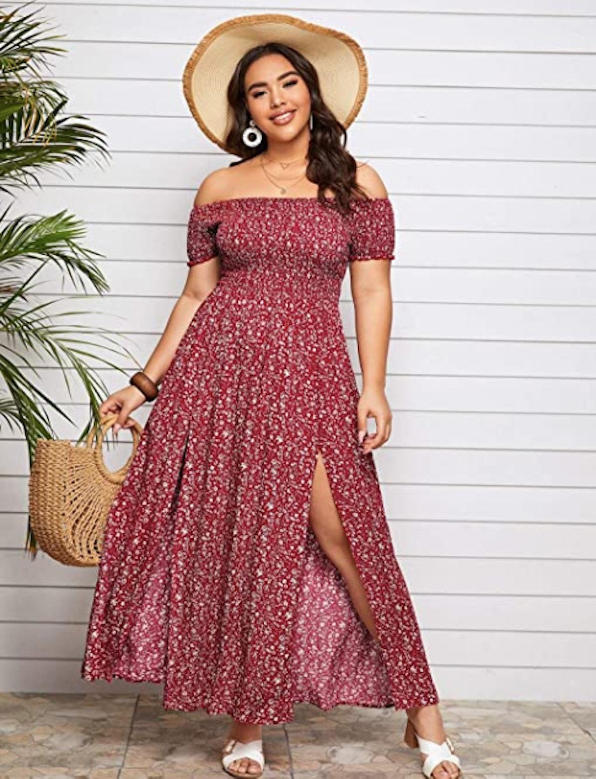 SOLY HUX Plus-Size Off The Shoulder Maxi Dress