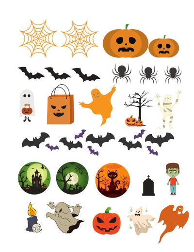 halloween stickers like cobwebs, pumpkins, bat and spiders that can be downloaded and printed at hom...