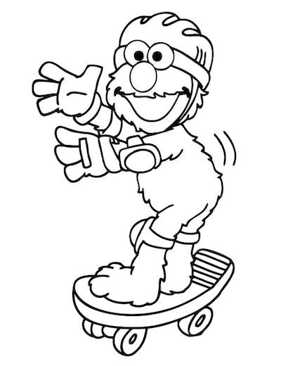 Skateboard Coloring Page: Elmo riding on skateboard