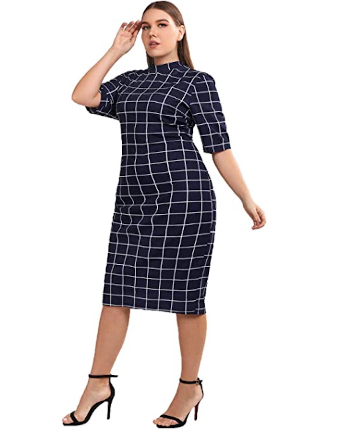 Floerns Plus-Size Short Sleeve Plaid Pencil Dress