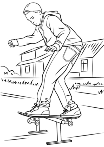 Skateboard Coloring Page: Person on skateboard outside, balancing on raised bar