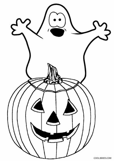 Ghost coloring Page: Ghost popping up from behind jack o lantern