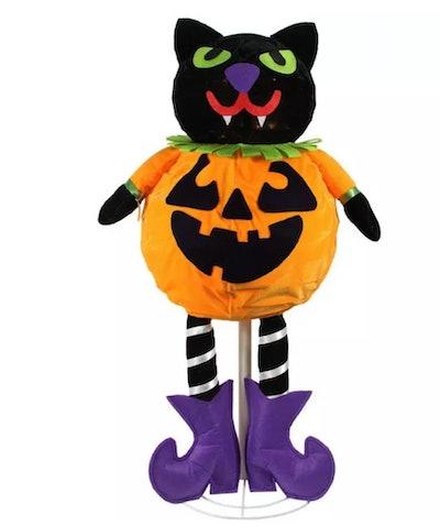 "Northlight 35"" Prelit LED Standing Cat Jack-O-Lantern Pumpkin"
