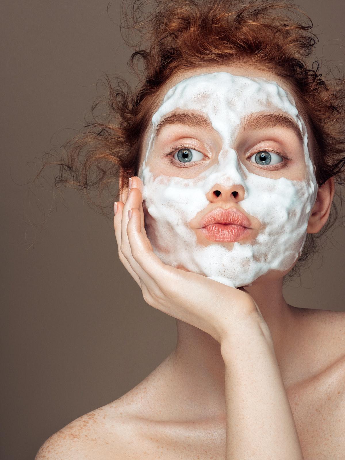 Woman wearing skin care treatment mask