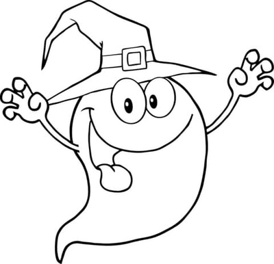 Ghost Coloring Page: Ghost wearing witch hat, making silly face