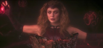 Wanda Maximoff (Elizabeth Olsen) using the Darkhold in the WandaVision finale