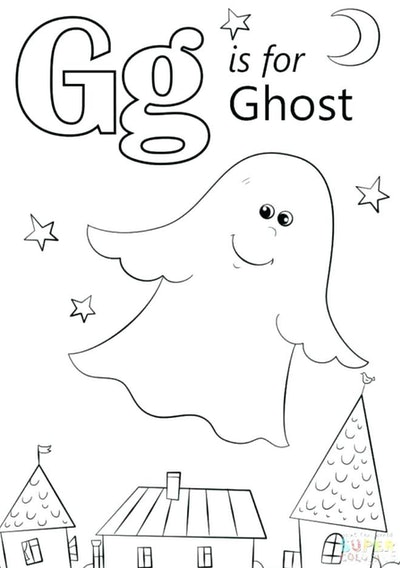"""Ghost Coloring Page: Ghost flying through the air with """"G is for ghost"""" written beside it"""