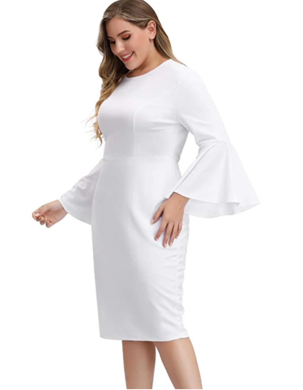 Hanna Nikole Plus-Size Bell Sleeve Pencil Dress