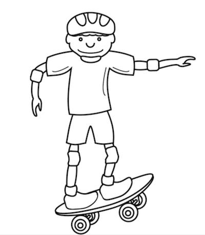 Skateboard Coloring Page: Cartoon boy on skateboard, wearing helmet and pads