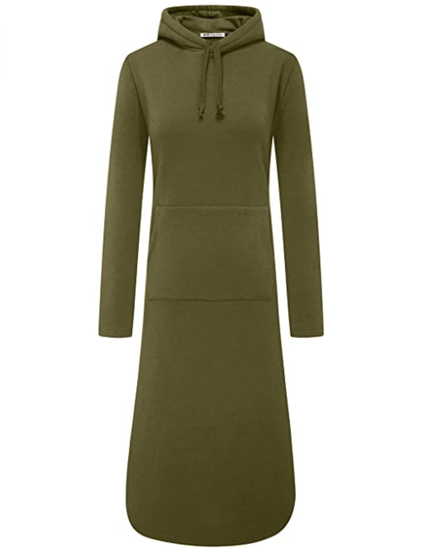 WenVen Plus-Size Long Hoodie Sweatshirt Dress